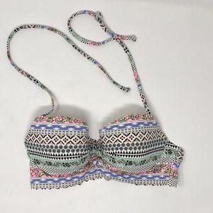 VS Halter Bikini Top Underwire 32C White Print